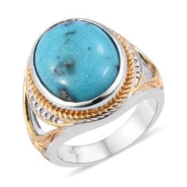 8.25 Ct Persian Turquoise Solitaire Ring in Platinum and Gold Plated Sterling Silver