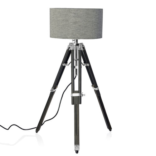 Individually Hand Crafted-Natural Teak Wood Tripod Lamp (81 cm) with Stainless Steel Elements and Black Colour Linen Lampshade (28x15 Cm)
