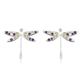 LucyQ Dragonfly Collection - Freshwater White Pearl, Hebei Peridot and Amethyst Earrings (with Push