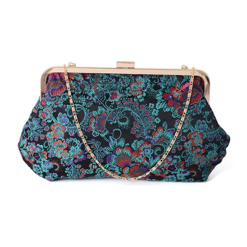 New Season - Black, Turquoise and Multi Colour Embroidery Flower Pattern Clutch Bag with Chain Shoul
