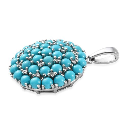 Arizona Sleeping Beauty Turquoise (9.25 Ct), Natural Cambodian Zircon Cluster Pendant in Platinum Overlay Sterling Silver 9.56 Ct, Silver wt 7.80 Gms