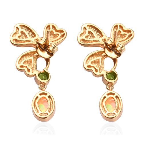 Ethiopian Welo Opal and Russian Diopside Enamelled Leaf Drop Earrings in 14K Gold Overlay Sterling Silver 1.50 Ct, Silver wt 5.43 Gms