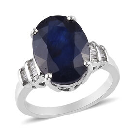 Monster Deal - Masoala Sapphire and Diamond Ring in Platinum Overlay Sterling Silver 1.12 Ct.