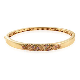 Multi Gem Stone 14K Gold Overlay Sterling Silver Bangle (Size 7.5)  1.500  Ct, Silver wt 20.48 Gms.