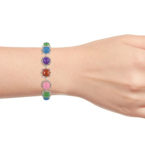 Red, Green, Pink and Multi Colour Jade Bracelet (Size 6.5 to 8) Yellow Gold Overlay Sterling Silver 41.640 Ct. Silver wt 13.20 Gms.