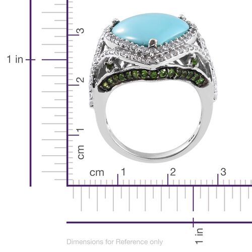 Rare Size Sleeping Beauty Turquoise (Hrt 7.20 Ct), Russian Diopside and Natural Cambodian Zircon Ring in Platinum Overlay Sterling Silver 9.000 Ct. Gemstone Studded 133 Silver wt 7.90 Gms.