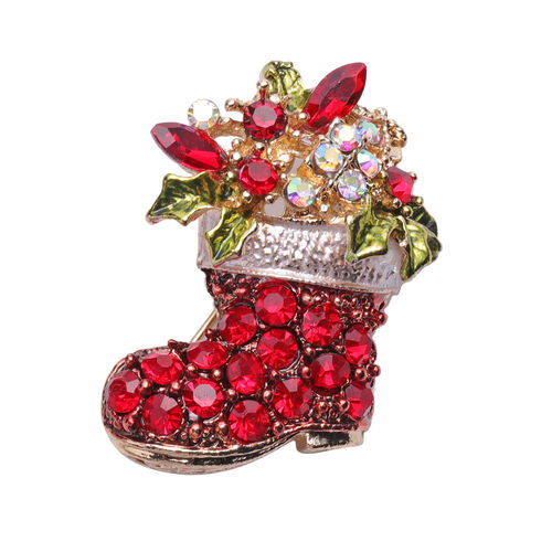 Set of 2 - Simulated Ruby, Red Austrian Crystal, Simulated Mystic White Crystal and Multi Colour Austrian Crystal Christmas Tree and Stocking Pendant with Chain in Yellow Gold Tone
