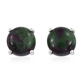 11 Carat Ruby Zoisite Solitaire Stud Earrings in Platinum Plated Silver