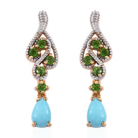 Arizona Sleeping Beauty Turquoise (Pear), Russian Diopside Earrings (with Push Back) in 14K Gold Ove