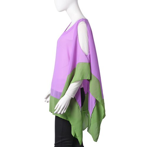Purple and Green Colour Poncho (Free Size with Lenght 75 cm)