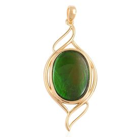 AA Canadian Ammolite (Ovl 18x13 mm) Pendant in Vermeil Yellow Gold Overlay Sterling Silver.