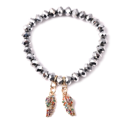 Simulated White Topaz and Multi Colour Austrian Crystal Angel-Wing Charm Stretchable Bracelet (Size