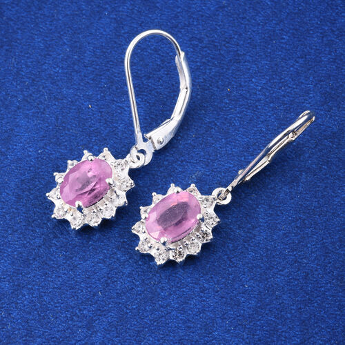 Hot Pink Sapphire (Ovl), Natural Cambodian Zircon Lever Back Earrings in Sterling Silver 2.500 Ct.
