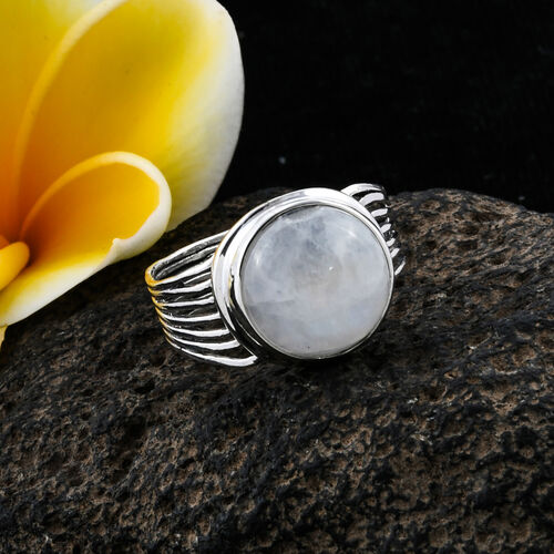 Bali Legacy Collection Rainbow Moonstone (Rnd) Solitaire Ring in Sterling Silver 9.570 Ct.