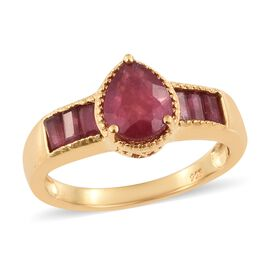 African Ruby (Pear 2.50 Ct) Ring in 14K Gold Overlay Sterling Silver 3.750 Ct.