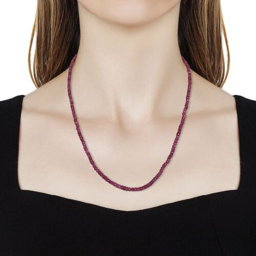 African Ruby (Rnd) Beads Necklace (Size 20) in Platinum Overlay Sterling Silver 68.40 Ct.