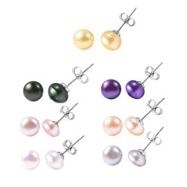 Set of 7 - Multi Gemstone Stud Earrings in Stainless Steel