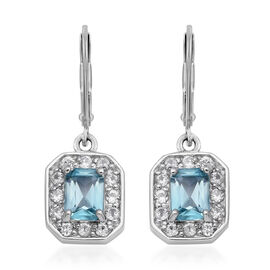 Blue and White Zircon Halo Drop Earrings with Lever Back in Rhodium Plated Silver