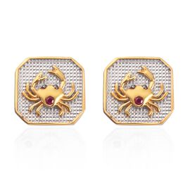 African Ruby Cancer  Zodiac Stud Earrings (with Push Back) in Yellow Gold and Platinum Overlay Sterl