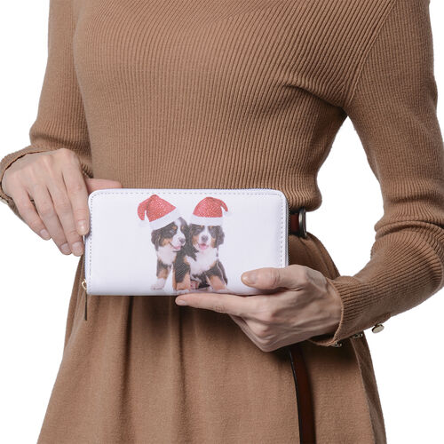 Two Dogs Print RFID Clutch Wallet (Size 18.5x2.5x9.5cm) with Zipper Closure in Gold Tone - White