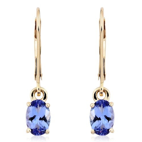 AA Tanzanite Solitaire Lever Back Earrings in 9K Gold 1.25 Ct