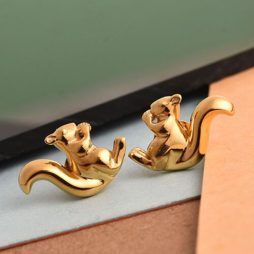 14K Gold Overlay Sterling Silver Squirrel Earrings (with Push Back)
