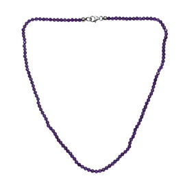Amethyst (Rnd) Beaded Necklace (Size 18) with Lobster Lock in Rhodium Overlay Sterling Silver 30.000