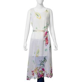 Red, Off White and Multi Colour Floral Pattern Dress (Size 108X95 Cm)