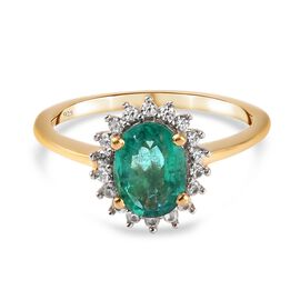 Emerald and Natural Cambodian Zircon Ring in 14K Gold Overlay Sterling Silver 1.50 Ct.