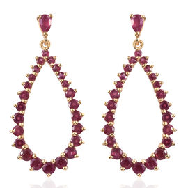 African Ruby (Pear and Rnd) Earrings (with Push Back) in 14K Gold Overlay Sterling Silver 5.250 Ct.