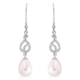 Freshwater White Pearl and Simulated Diamond Dangle Lever Back Earrings in Rhodium Overlay Sterling