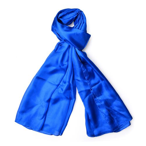 New Season-100% Mulberry Silk Pantone Lapis Blue Colour Scarf (Size 180x110 Cm)