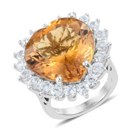 Citrine (Hrt 17.75 Ct), Natural Cambodian Zircon Ring in Platinum Overlay Sterling Silver 20.500 Ct. Silver Wt. 8.00 Gms.