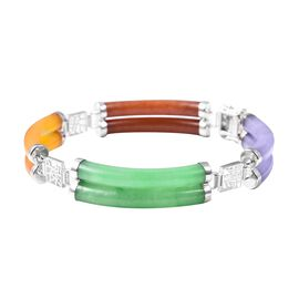 90.15 Ct Multi Colour Jade and Mozambique Garnet Station Bracelet in Rhodium Plated Silver 7.5 Inch