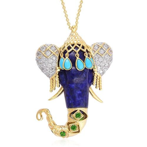 Hand Made - Lapis Lazuli, Arizona Sleeping Beauty Turquoise, Russian Diopside and White Zircon Elephant Head Pendant With Chain in Yellow Gold Overlay Sterling Silver 41.970 Ct.
