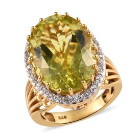Natural Ouro Verde Quartz (Ovl 18x13 mm), Natural White Cambodian Zircon Ring (Size N) in 14K Gold Overlay St