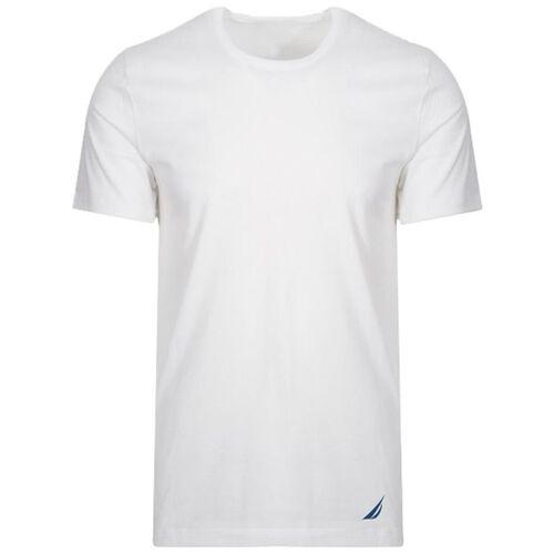 Pack of 4 - Nautica Mens 100% Cotton Crew-Neck White T-Shirt (Size S)