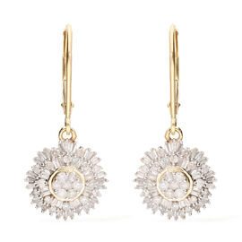 9K Yellow Gold SGL Certified Diamond (I3/G-H) Lever Back Drop Earring 1.00 Ct.