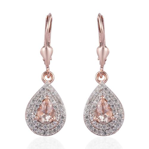 1.50 Ct Marropino Morganite and Zircon Drop Halo Earrings in Rose Gold Plated Sterling Silver