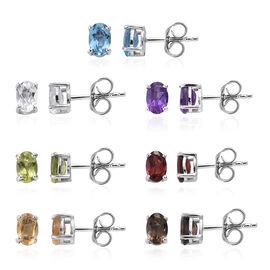 Set of 7 - Blue Topaz (Ovl), Multi Gemstone Stud Earrings (with Push Back) in Platinum Overlay Sterl