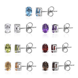 Set of 7 - Blue Topaz (Ovl), Multi Gemstone Stud Earrings (with Push Back) in Platinum Overlay Sterl