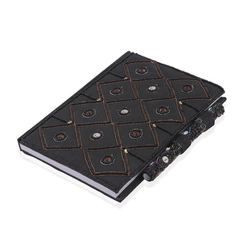 Hand Crafted Embellished Zari Work Black and Chocolate Notebook with Pen Set (Size 17.78X12.70 Cm)