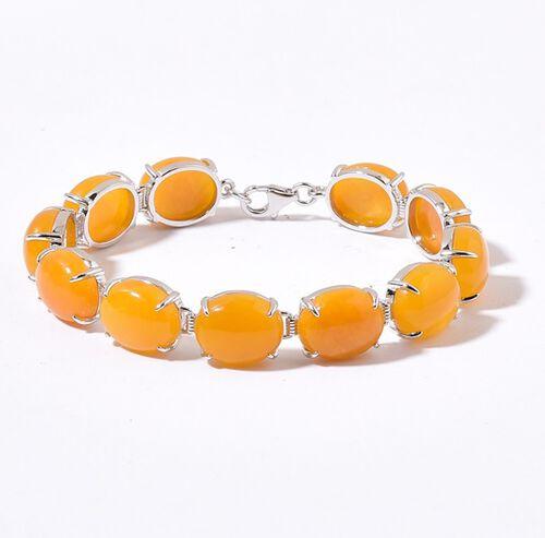 Honey Jade (Ovl) Bracelet (Size 7.5) in Platinum Overlay Sterling Silver 71.750 Ct. Silver wt 8.33 Gms.
