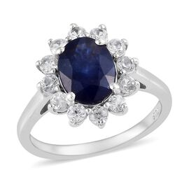 One Time Deal- AAA Masoala Sapphire (OVAL 9X7 mm),Natural Zircon Platinum Overlay Sterling Silver Ri
