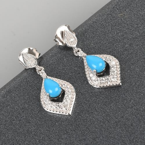 Arizona Sleeping Beauty Turquoise and Natural Cambodian Zircon Dangling Earrings (with Push Back) in Platinum Overlay Sterling Silver