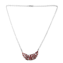 Royal Bali Collection - Coral Crescent Moon Shape Flower Pendant Necklace (Size 20) in Sterling Silv