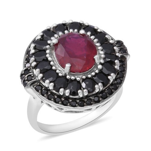 9.73 Ct African Ruby and Boi Ploi Black Spinel Ring in Rhodium Plated Sterling Silver 8.29 Grams