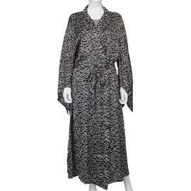 Rope Printed Satin Finish Dressing Gown (UK Size 8 - 18) - Black