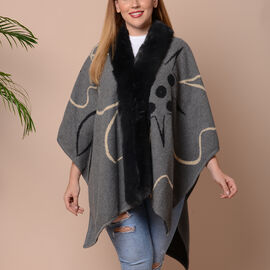 Big Flower Pattern Kimono with Faux Fur Collar (Size 78x109cm) - Grey