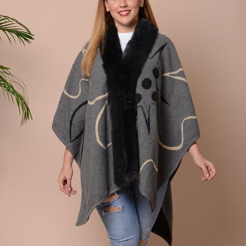Big Flower Pattern Kimono with Faux Fur Collar (Size 78x109cm) - Grey